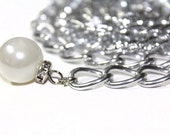 Silver Chain Belt with Faux Pearl for Fashion Wear