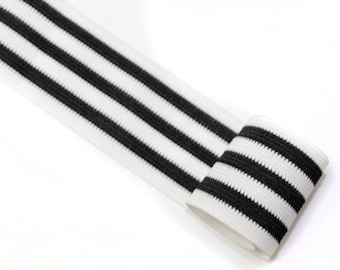 4 YARDS White and Black Striped Gross Grain Trim Ribbon