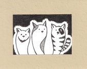 ACEO, Cool Cats, ATC, Art Trading Card, Original Drawing, Ink, Kid Friendly, Animals