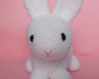 White rabbit crochet toy