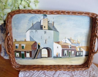 Vintage wicker serving tray, handpainted cottage style decorative tray, excellent condition