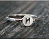 Sterling Silver Initial Ring, Personalized Silver ring, Sterling Stacking Ring, delicate ring, Hand stamped Initial Ring, Monogram ring,