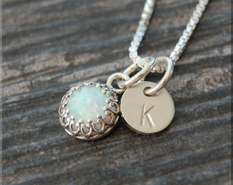 Opal Initial Charm Necklace, Sterling Silver Opal Pendant, Letter Charm, Personalized Jewelry, Sterling Silver Necklace, Monogram charm