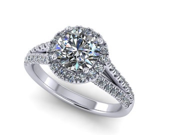 platinum hand made forever one round moissanite engagement ring with 0.50ct diamonds , custom made ring,custom design ring,style 8WDM