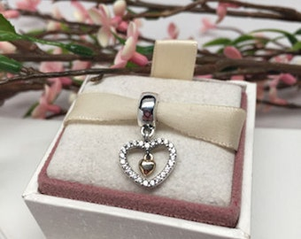 Authentic 14kt Pandora Forever in My Heart Dangle Silver and 14kt Gold charm For Bracelet in Original Box