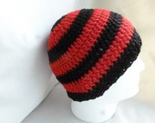 Adult 10+  crochet beanie, Red and Black striped adult beanie,  Boys winter hat