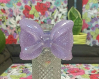 Big lilac sparkle bow ring