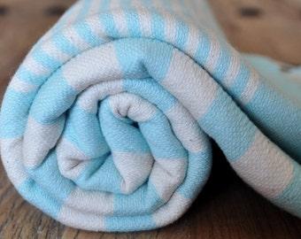 Turkish Beach Towel hand loomed Peshtemal Towel Blue white striped