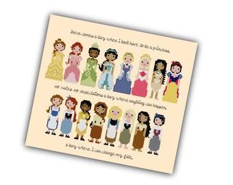 HALF OFF PATTERNS :) Disney Princess Pixel People Cross Stitch Pattern - Girls Cross Stitch - Easy Cross Stitch Pdf