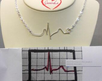 Customized YOUR Heartbeat Necklace Personalized Your EKG Necklace Handmade Original Wife, Husband, Child, Boyfriend, Girlfriend EKG