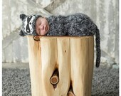 Newborn Raccoon Hat and Cocoon Animal Outfit Set Photo Prop