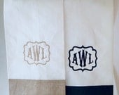 Monogrammed Hand Towels - Colored Border