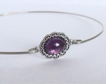 Silver and amethyst bangle - Amethyst bracelet - Boho gypsy bracelet -  Amethyst bangle - Minimalist jewelry - Third eye and crown chakras