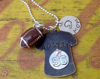 Football Mom Sports Necklace personalized custom pendant