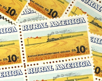 50 pieces - 1974 10 cent Rural America Train - Vintage unused postage stamps - great for party or wedding invitations - yellow, goldenrod