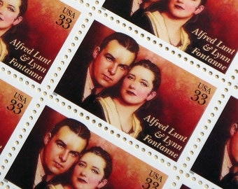 SALE! - 20 pieces - Alfred Lunt & Lynn Fontanne 33 cent stamps - great for postcards, wedding invitations, save the dates - Broadway, actors