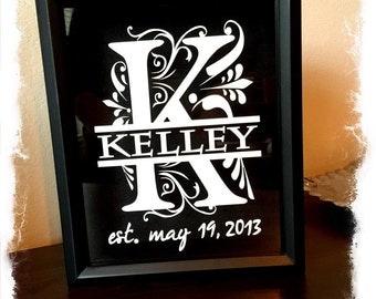 8x10 personalized monogram wine cork holder split letter black back wedding gift shower gift monogram
