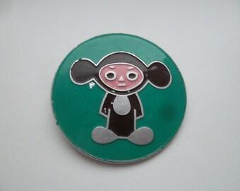 Big rare soviet pin badge Cheburashka a character children of Russian cartoon. Made in the USSR.