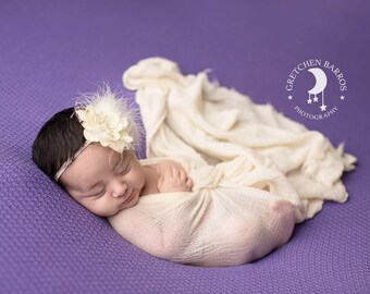 Deluxe Ivory Flower with Pearls Feathers and French Netting headband - Perfect Newborn Photo Prop