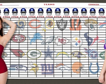 "2017 Jumbo 5Ft x 3Ft Fantasy Football Draft Kit Board with Large 4"" x 1"" Color Labels"