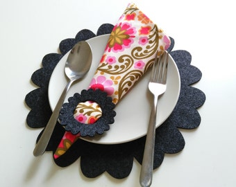 Placemats set 4, with Napkin Ring, Home Deco, Party supply, Wedding Gift,  modern/floral.