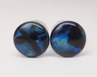 "Ear Plugs, Abalone Paua Shell, 1/2"" Ear Gauges * Handmade clear UV acrylic plugs"