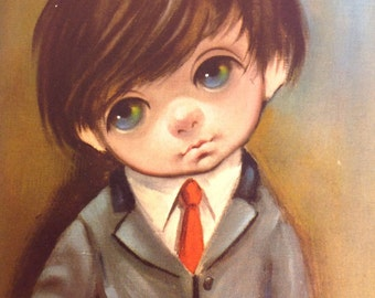 Suit and Tie Boy, Vintage Big Eye Art Print by Ozz Franca, vintage unframed lithograph