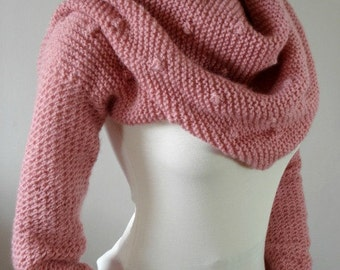 KNITTING PATTERN Scarf with Sleeves - Celine Scarf with sleeves - Cowl Pattern Big Scarf Cowl with Long Sleeves, pdf files Instant Download