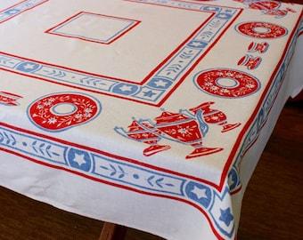 Vintage Linen Tablecloth Red Blue White Tea Cups Tea Set Mod Retro Table Cloth Printed Mid Century