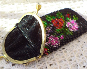 Beaded Crochet Glasses Case - Victorian Flowers