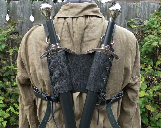Leather Back Double Sword Strap, Cross - Medieval Renaissance - Adjustable MENS