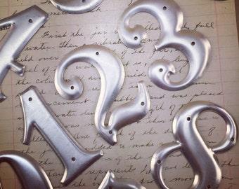 """Industrial metal numbers 3"""" - small vintage metal numbers – salvaged address number – vintage house numbers – sign numbers – silver numbers"""