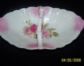 Antique Porcelain Relish Dish, Hand Painted Rose, Germany or Austria