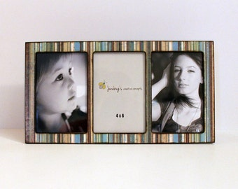Triple 3 Photo 4x6 Picture Frame Blue Brown Stripes