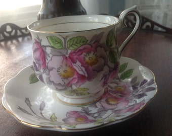 Vintage Rose Tea Cup and Saucer  Royal Albert Bone China England Flower of the Month Series Dog Rose Hand Painted