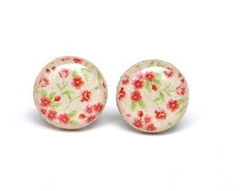 Red Flower Stud Earrings, Flower Post Earrings, Red Earrings, Red Studs. Eco friendly jewelry, wood jewelry, wood earrings