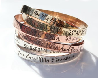Stackable Bangle Cuff Bracelets, Custom Engraved, Personalized Bar Jewerly, Silver, Gold, Gift for Her, Unisex, Roman Numerals, Coordinates