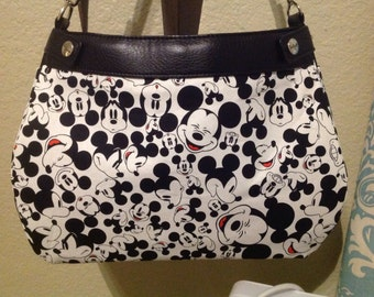 Mickey Mouse Heads/faces on white SUITE skirt Purse Skirt HANDMADE Thirty One skirt