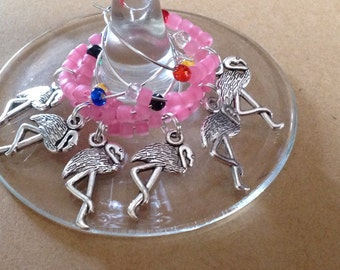 Flamingos Wine Charms Set
