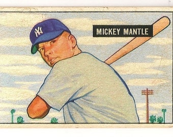 1951 bowman mickey mantle rc best looking card out there guarenteed
