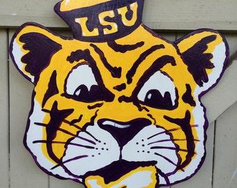 Old School LSU Tiger Hand Painted Door Hanger Louisiana