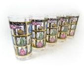Vintage Nautical Glassware Set Drinking Glasses Tumblers Retro Gold Ship Highball Beach House Mid Century Style Barware Bar Cart SET of 5