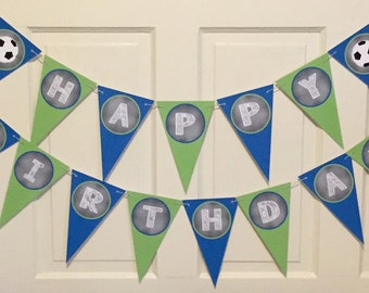 SOCCER Themed Happy Birthday or Baby Shower Party Banner Green Navy - Party Packs Available