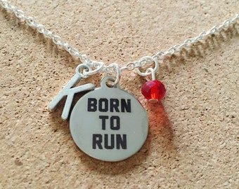 Personalized Born to Run Necklace with Your Initial and Birthstone