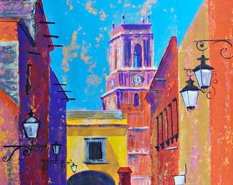 """Original painting art of cityscape in Mexico street and church in San Miguel de Allende architecture home decor 19.5""""x 27.5"""""""
