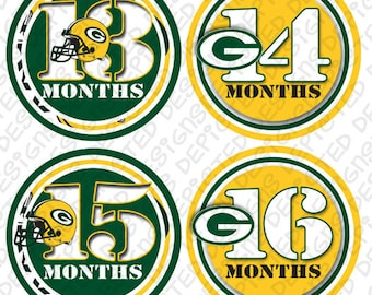 FOOTBALL month to month baby stickers - Baby monthly stickers 13 - 24 months - Bodysuit Romper Stickers - Monthly Baby Stickers - GREENBAY