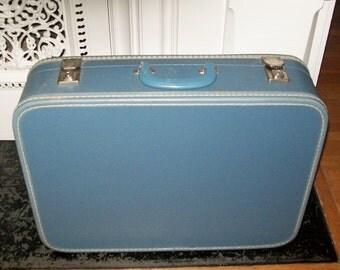 Vintage Blue Suitcase Cheney England Silver Tone Hardware Medium Luggage