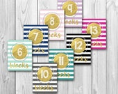 Pregnancy countdown, weekly pregnancy signs, chalkboard sign, pregnancy photo props, gold print