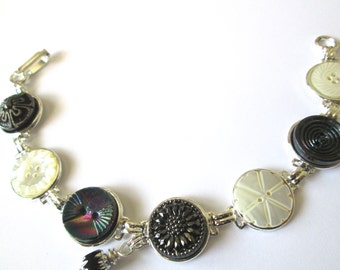 DAISY antique button bracelet, black & white, silver links