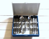 Dainty Tulip Flatware Montgomery Ward Stainless Steel Boxed Set Service For 6 Mid Century Art Nouveau